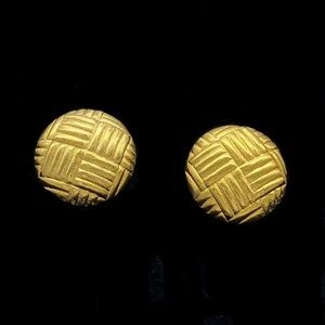 VTG 1960/1970s Napier Gold Tone Button Earrings